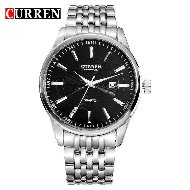 Curren 8052D-2-Silver/Black Stainless Steel Watch