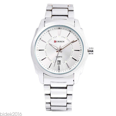 Curren 8072D-1-Silver/White Stainless Steel Watch