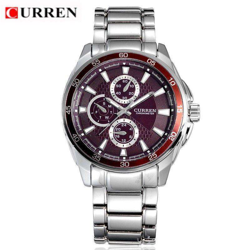 Curren 8076-2-Silver/Red/Red Stainless Steel Watch