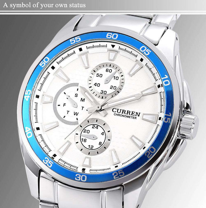 Curren 8076-1-Silver/Blue/White Stainless Steel Watch