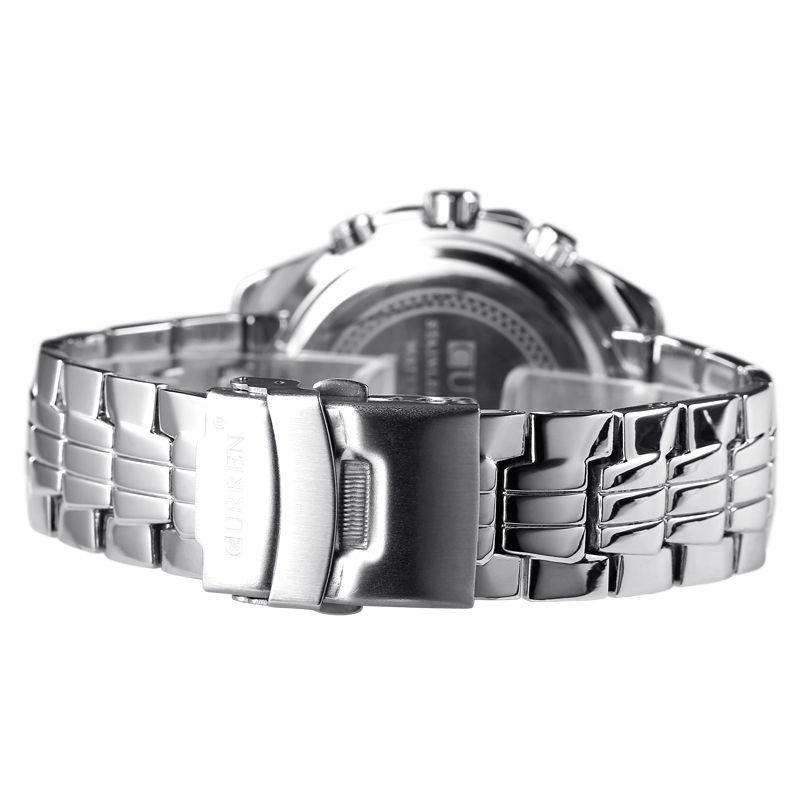 Curren 8077-1-Silver/Black/White Stainless Steel Watch