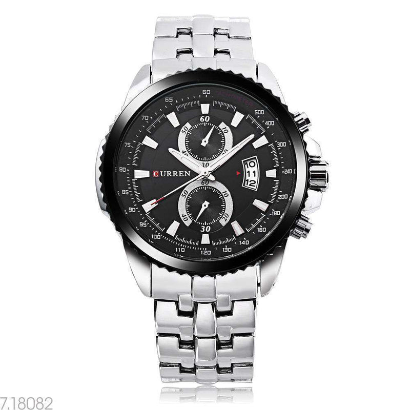 Curren 8082D-2-Silver/Black/Black Stainless Steel Watch
