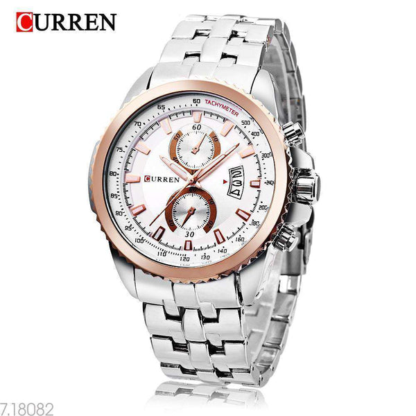 Curren 8082D-1-Silver/Gold/Silver Stainless Steel Watch