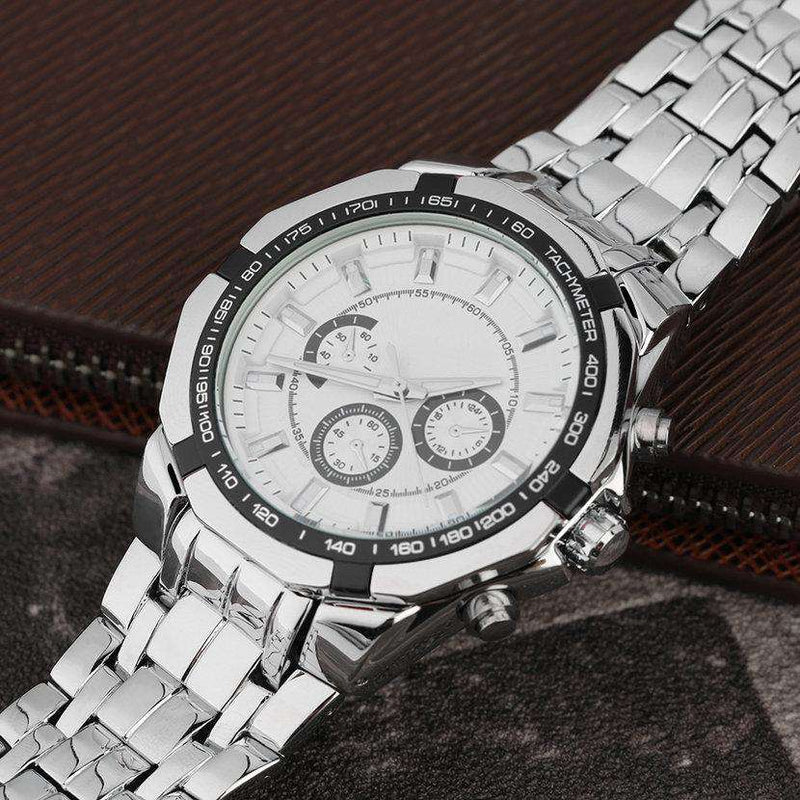 Curren 8084-1-Silver/Black/White Stainless Steel Watch