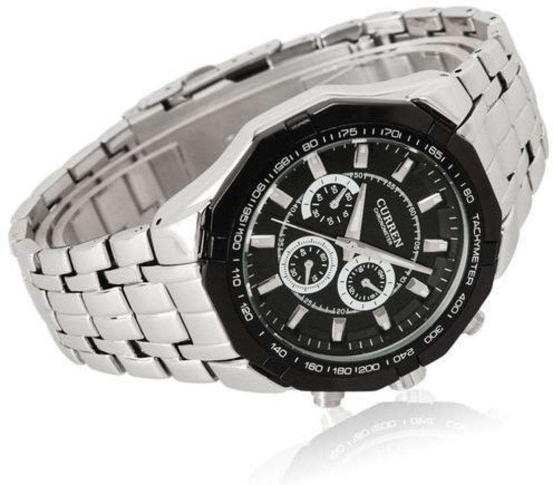 Curren 8084-2-Silver/Black/Black Stainless Steel Watch