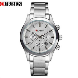 Curren 8085D-1-Silver/White Stainless Steel Watch