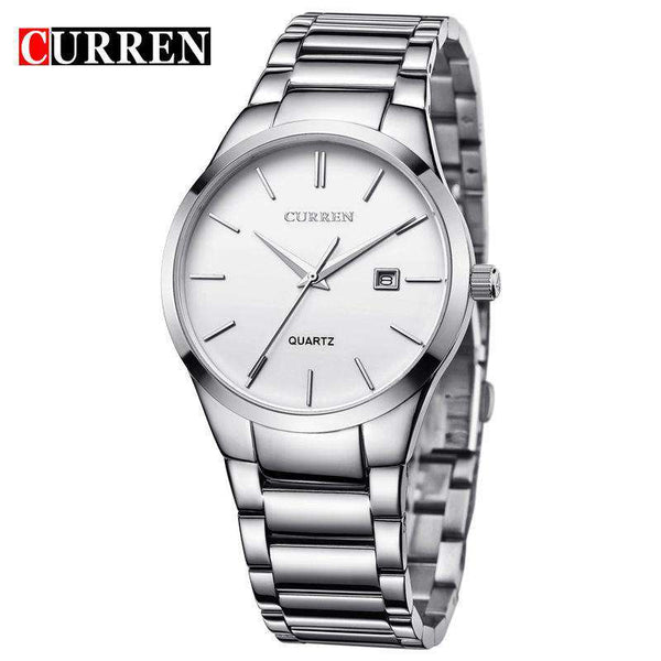 Curren 8106D-1-Silver/White Stainless Steel Watch
