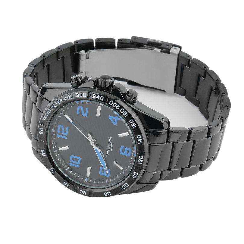 Curren 8107-1-Black/Black/Blue Stainless Steel Watch