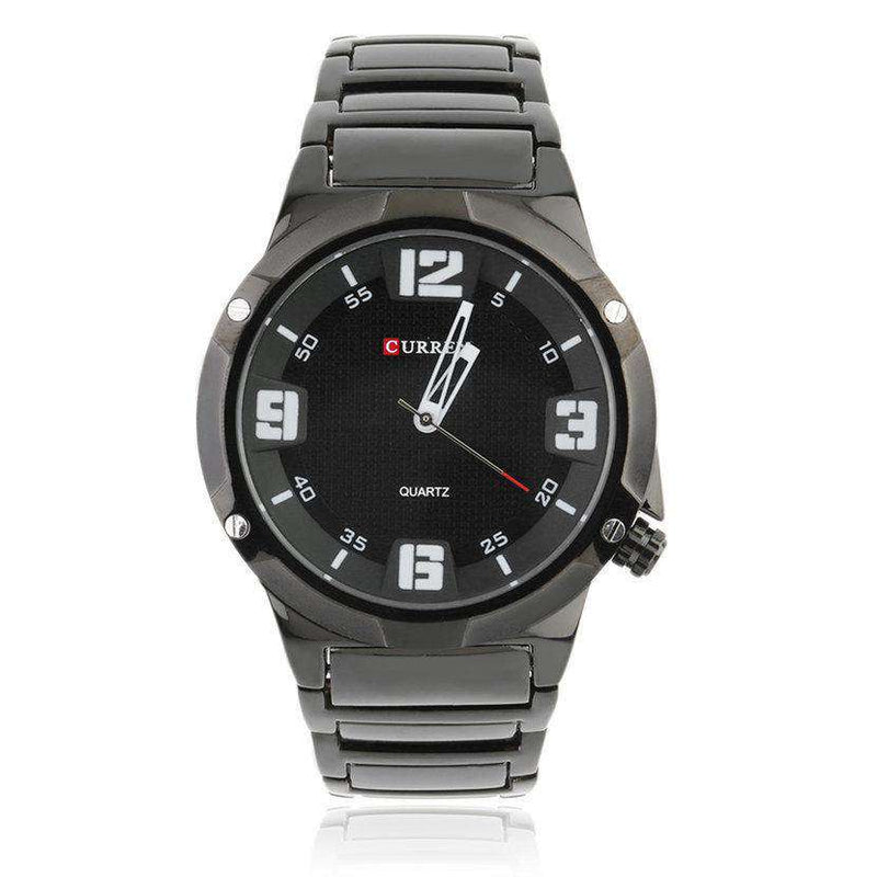 Curren 8111-2-Black/Black/White Stainless Steel Watch