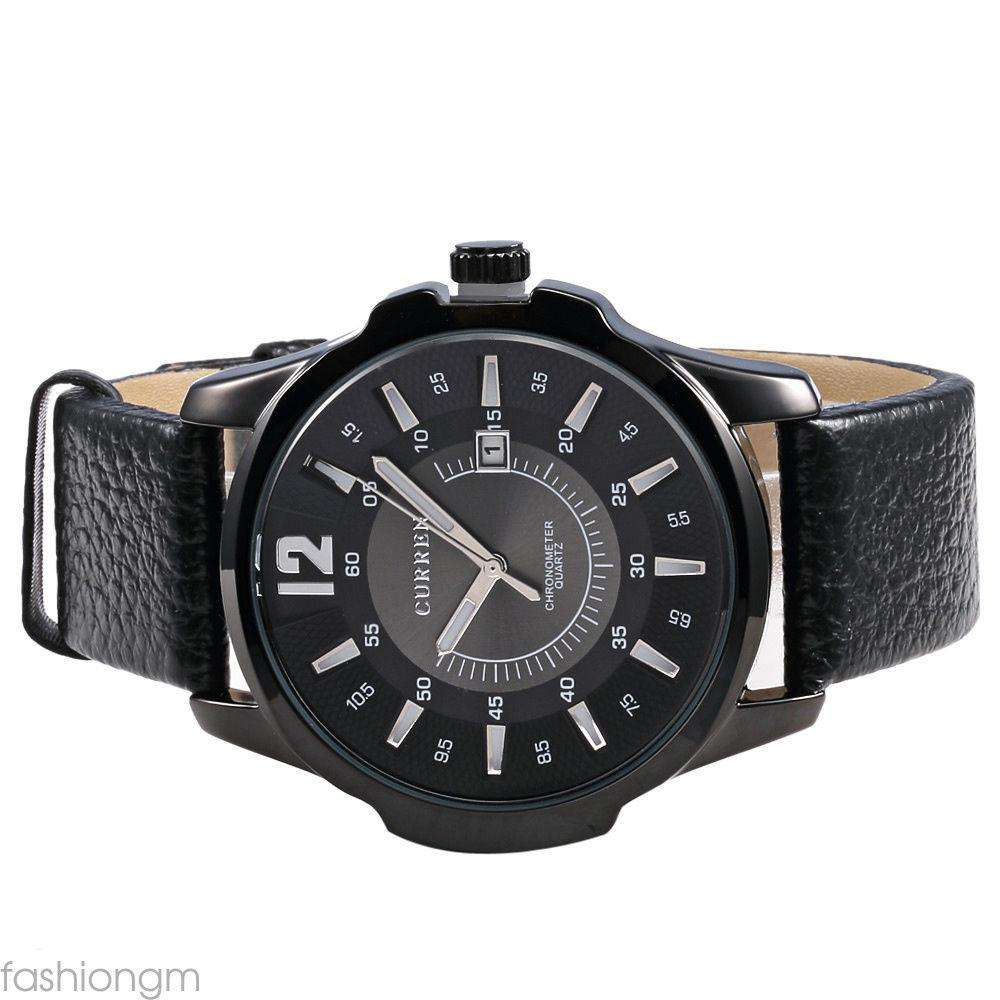 Curren 8123D-3-Black/Black/White Leather Strap Watch