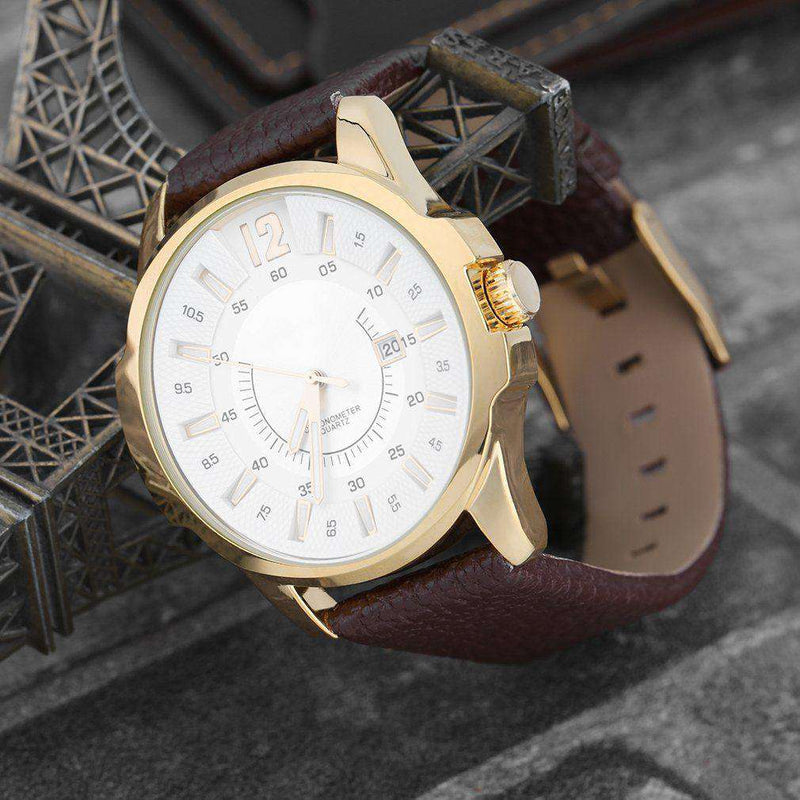 Curren 8123D-4-Brown/Gold/White Leather Strap Watch