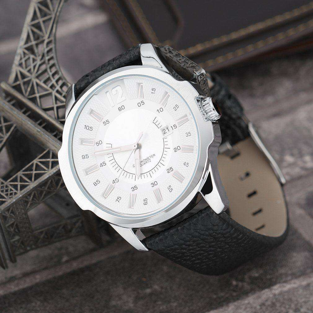 Curren 8123D-1-Black/Silver/White Leather Strap Watch
