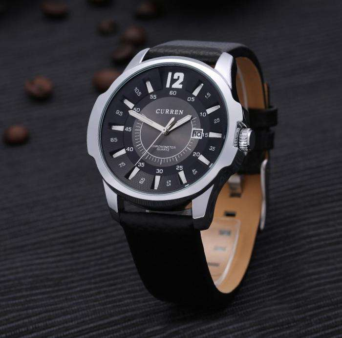 Curren 8123D-2-Black/Silver/Black Leather Strap Watch