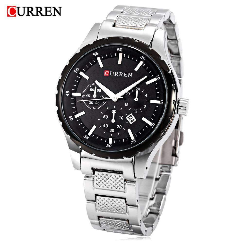 Curren 8130D-2-Silver/Black Stainless Steel Watch