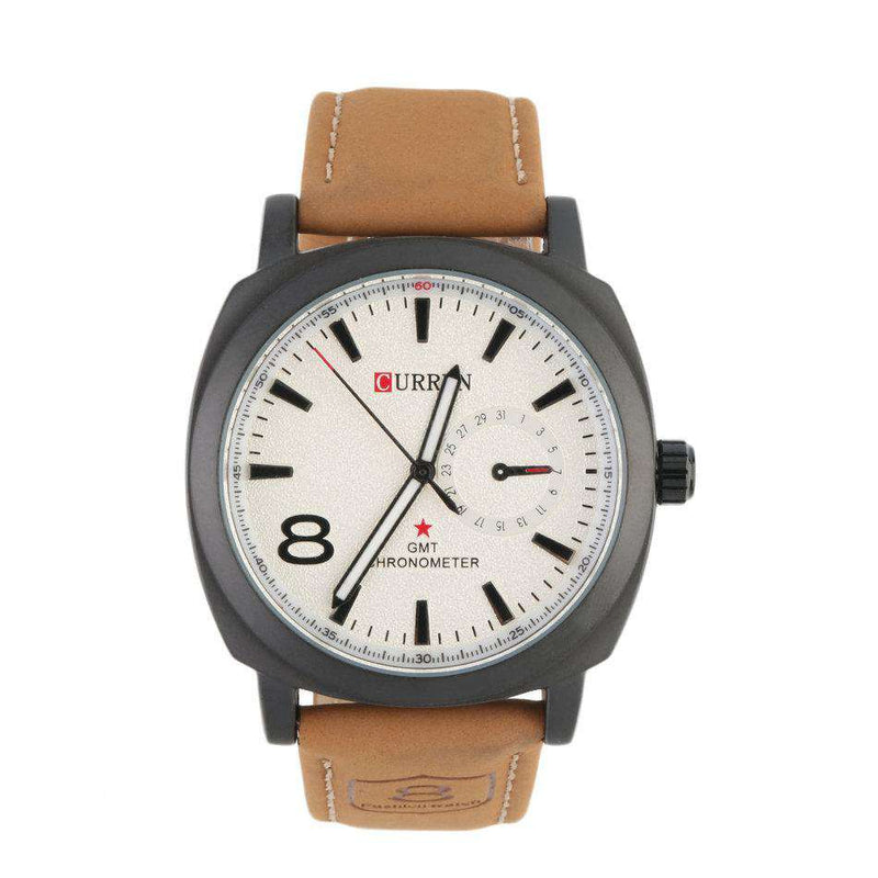 Curren 8139-1-Brown/Black/White Leather Strap Watch