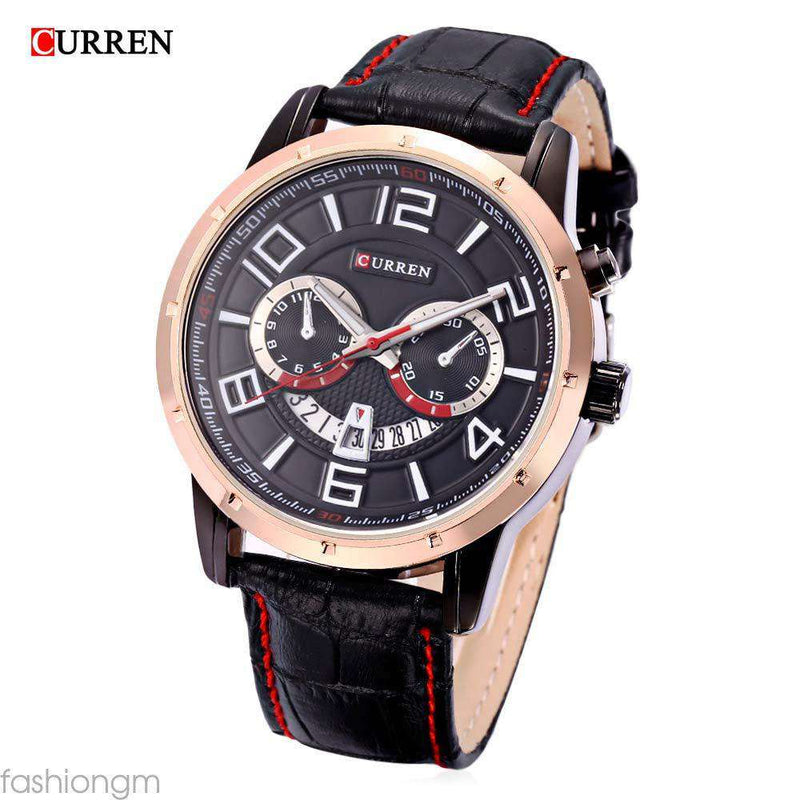 Curren 8140D-4-Black/Gold/Black Leather Strap Watch