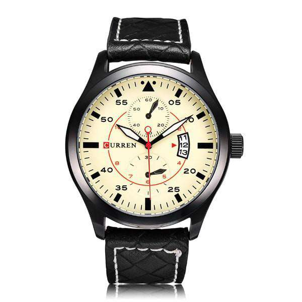Curren 8151D-1-Black/Yellow Leather Strap Watch