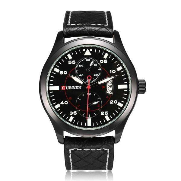 Curren 8151D-2-Black/Black Leather Strap Watch