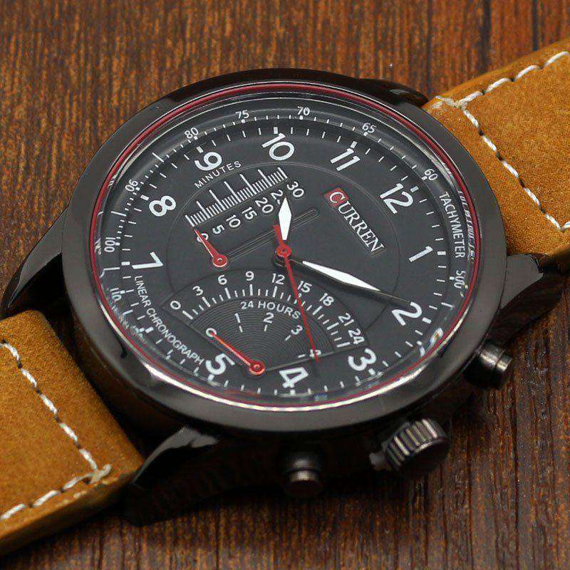 Curren 8152-3-Brown/Black/Black Leather Strap Watch