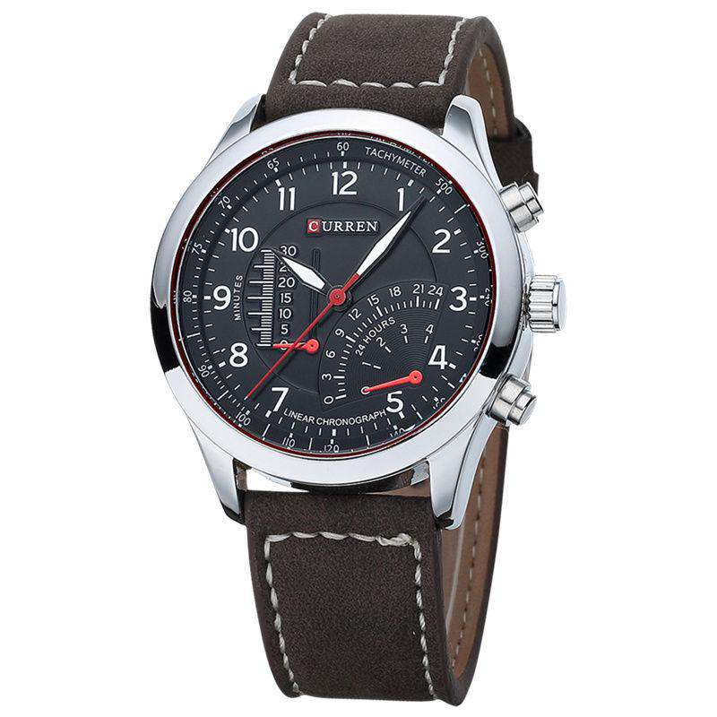 Curren 8152-2-Brown/Silver/Black Leather Strap Watch