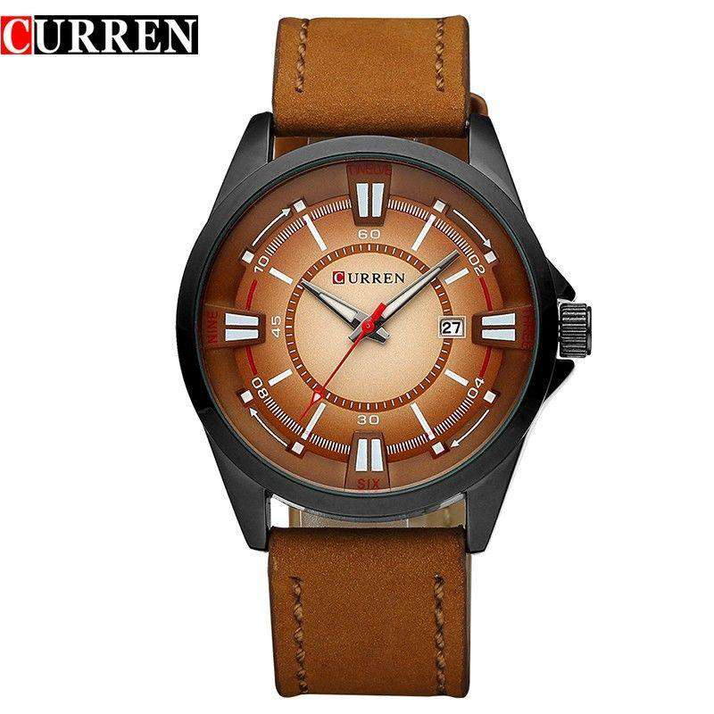 Curren 8155D-3-Brown/Black/Brown Leather Strap Watch