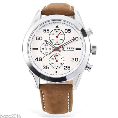 Curren 8156-1-Brown/Silver/White Stainless Steel Watch