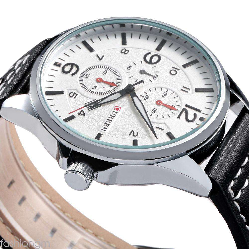 Curren 8164D-1-Black/Silver/White Leather Strap Watch