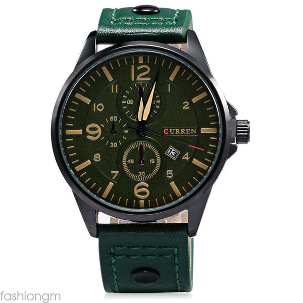 Curren 8164D-5-Green/Black/Green Leather Strap Watch