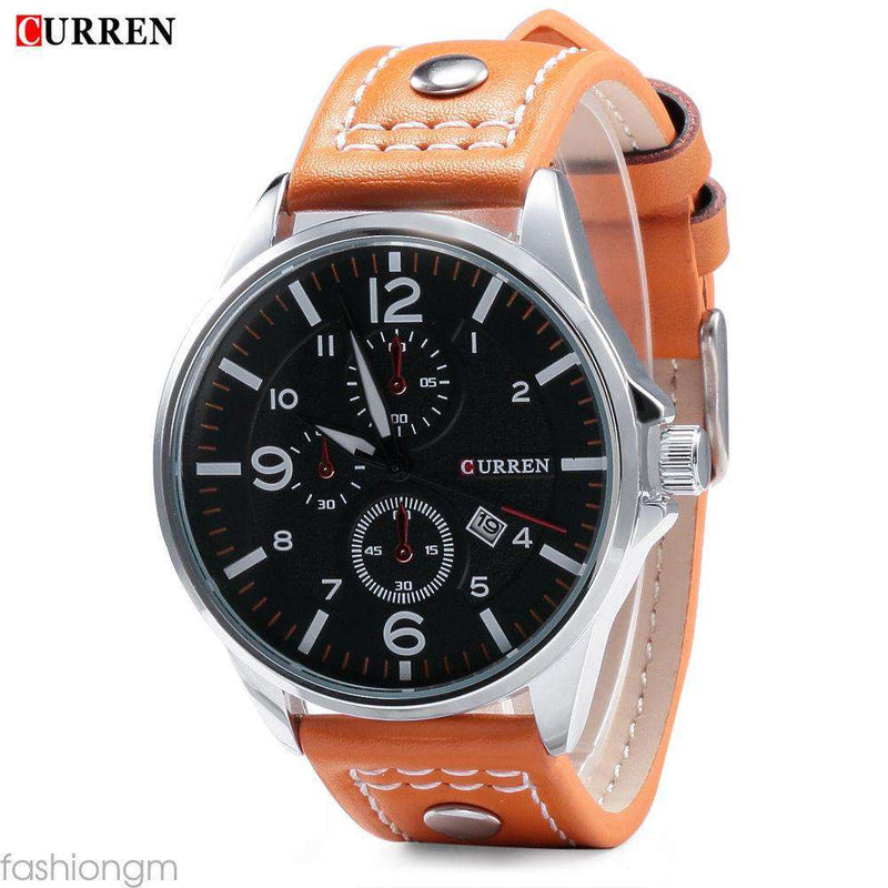 Curren 8164D-2-Orange/Silver/Black Leather Strap Watch