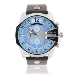 Curren 8176D-3-Brown/Silver/Blue Leather Strap Watch