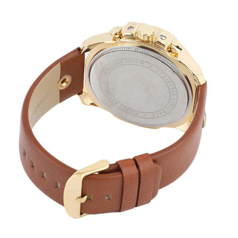 Curren 8176D-5-Orange/Gold/White Leather Strap Watch