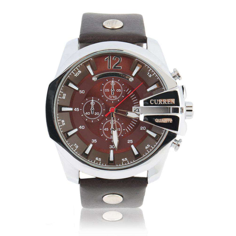 Curren 8176D-2-Brown/Silver/Brown Leather Strap Watch