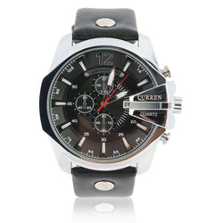 Curren 8176D-1-Black/Silver/Black Leather Strap Watch
