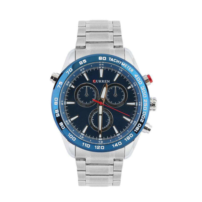 Curren 8189-2-Silver/Blue/Blue Stainless Steel Watch