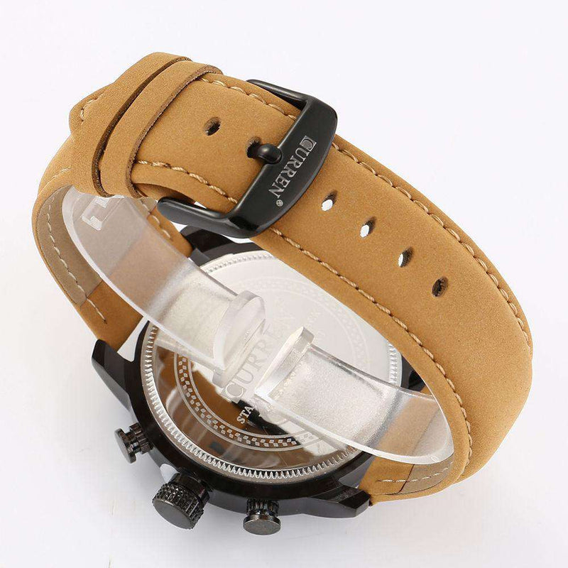 Curren 8190-1-Brown/Black/Yellow Leather Strap Watch