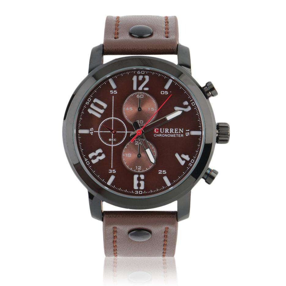 Curren 8192-4-Brown/Black/Brown Leather Strap Watch