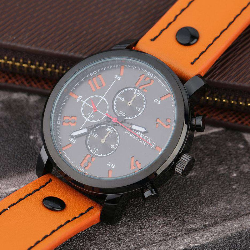 Curren 8192-1-Orange/Black/Orange Leather Strap Watch