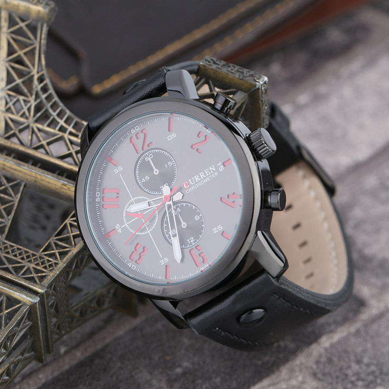 Curren 8192-3-Black/Black/Red Leather Strap Watch