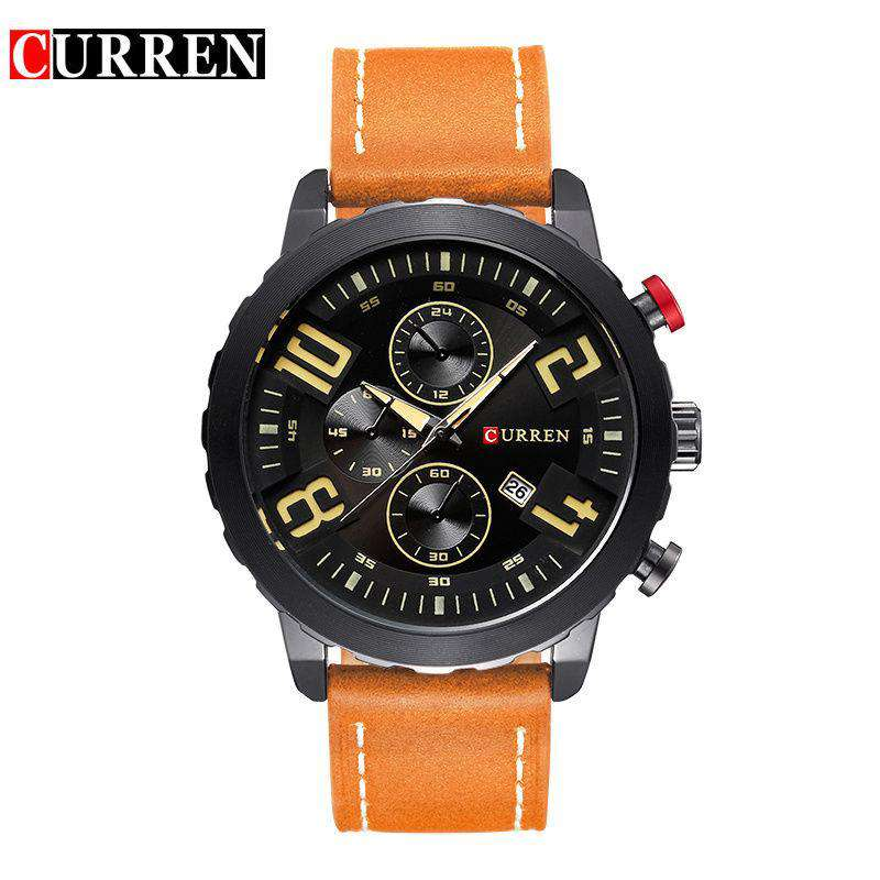Curren 8193D-3-Orange/Black/Black Leather Strap Watch