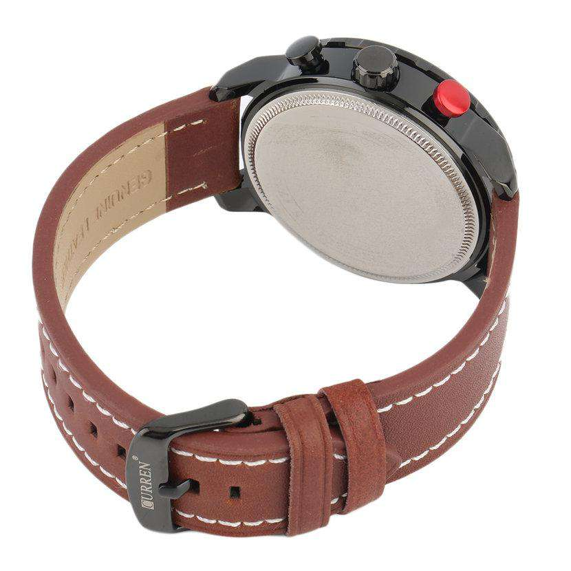 Curren 8193D-2-Brown/Black/Red Leather Strap Watch