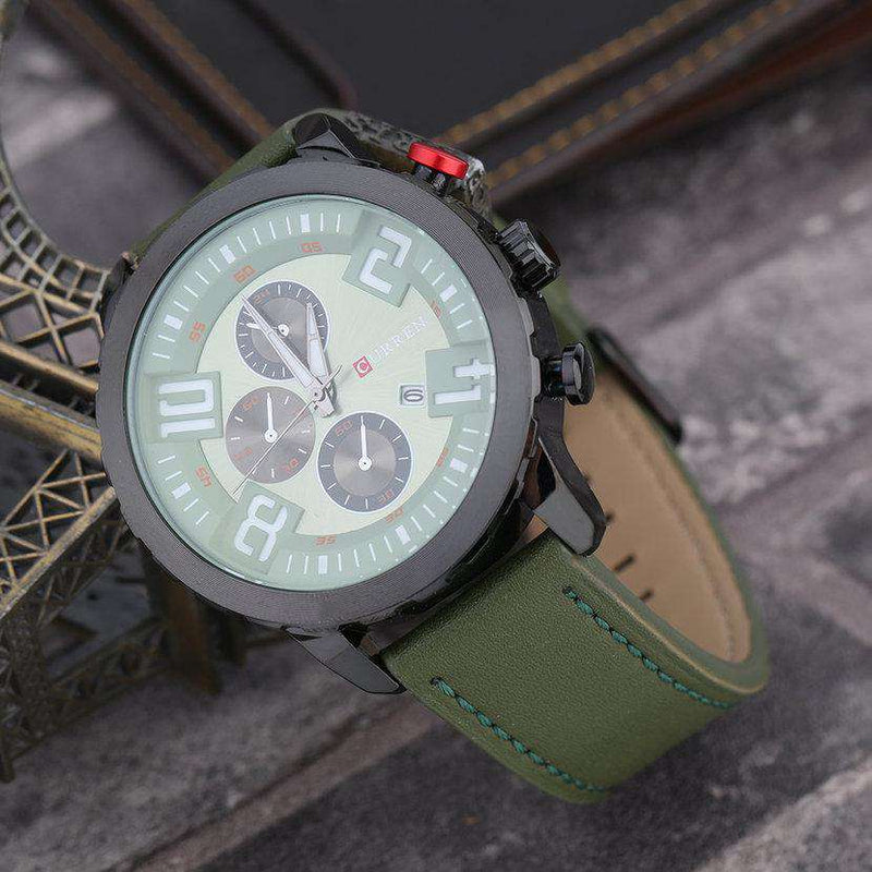 Curren 8193D-5-Green/Black/Green Leather Strap Watch