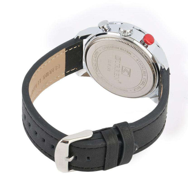 Curren 8193D-1-Black/Silver/Black Leather Strap Watch