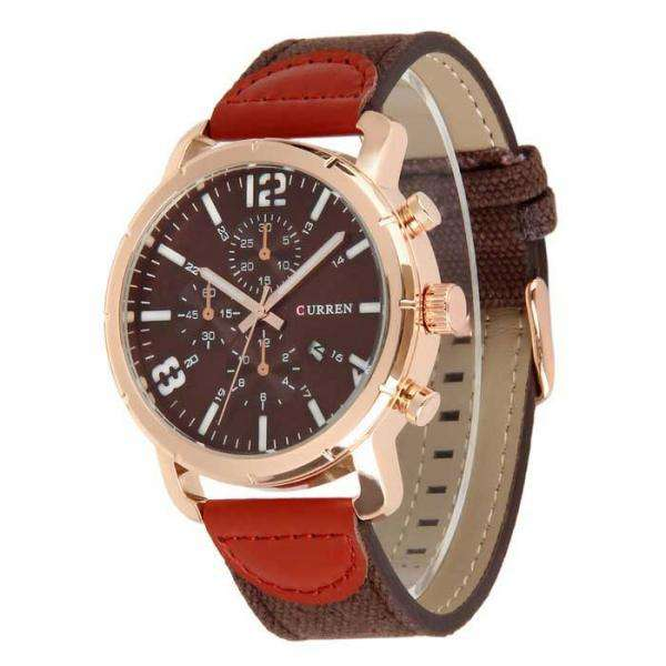 Curren 8194D-6-Brown/Gold/Brown Leather Strap Watch