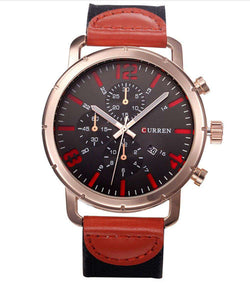 Curren 8194D-7-Black/Gold/Red Leather Strap Watch