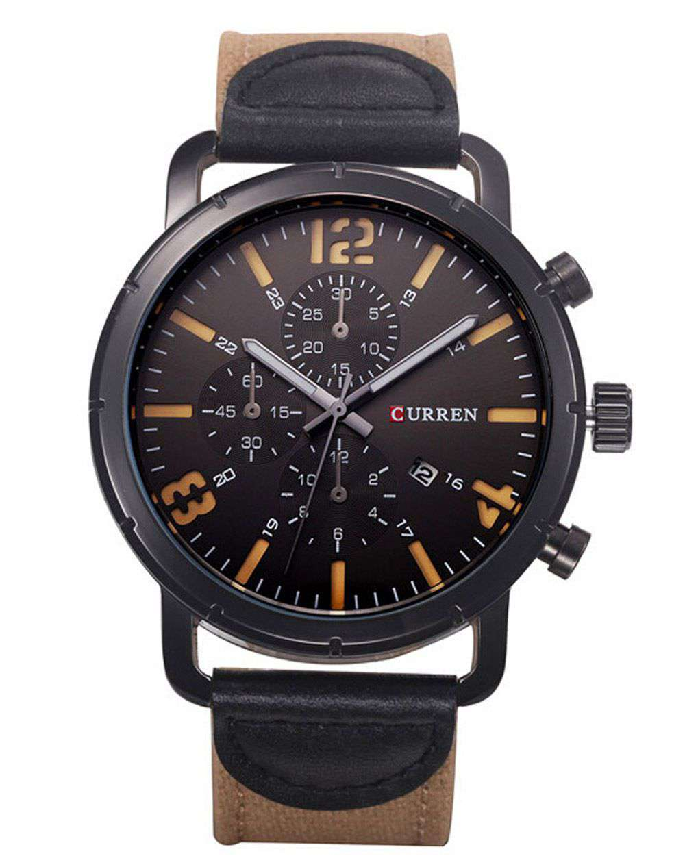 Curren 8194D-5-Brown/Black/Yellow Leather Strap Watch