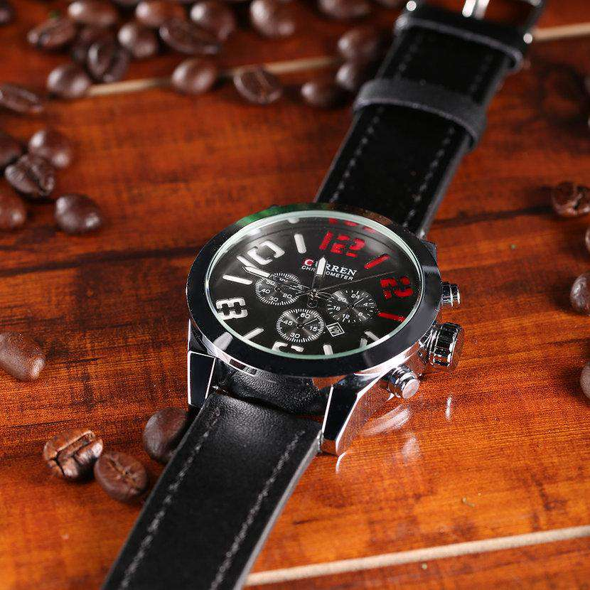 Curren 8198D-1-Black/Silver/Red Leather Strap Watch