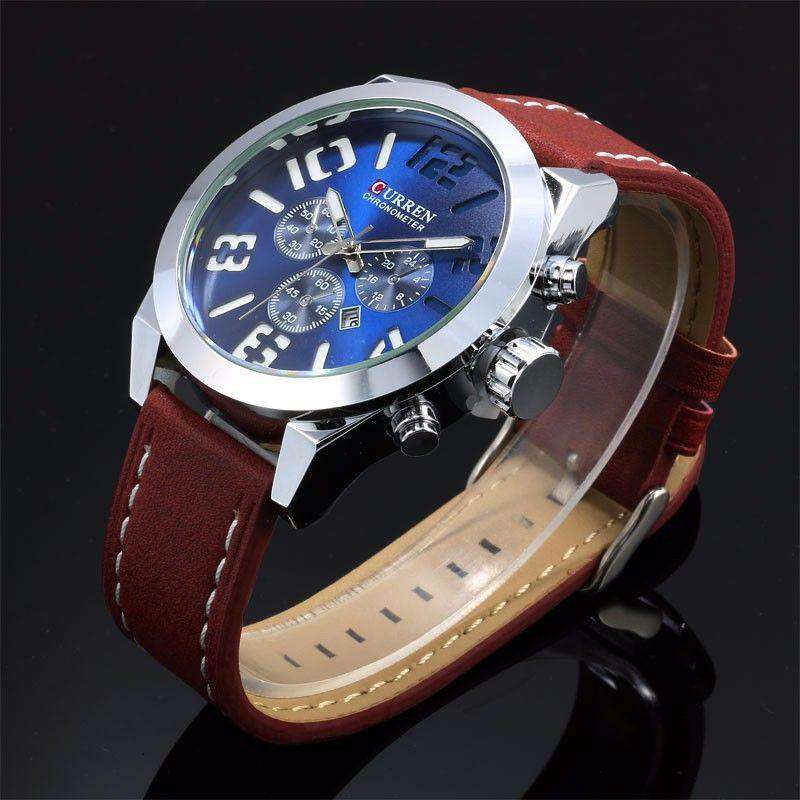Curren 8198D-2-Brown/Silver/Blue Leather Strap Watch