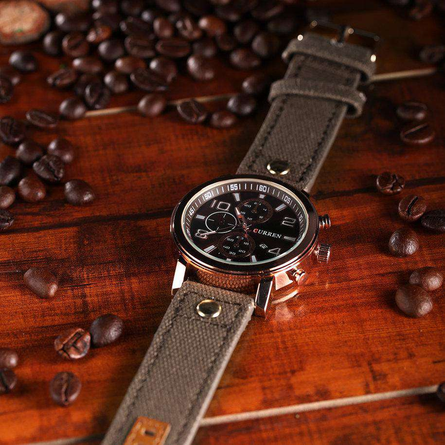 Curren 8199D-4-Brown/Gold/Brown Leather Strap Watch