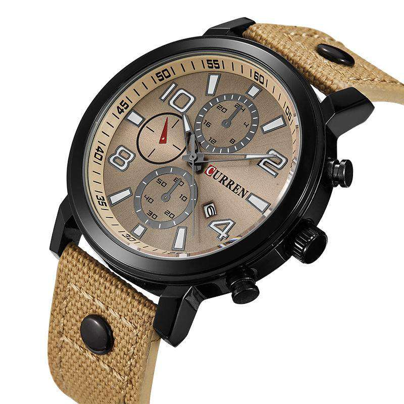 Curren 8199D-6-Brown/Black/Brown Leather Strap Watch