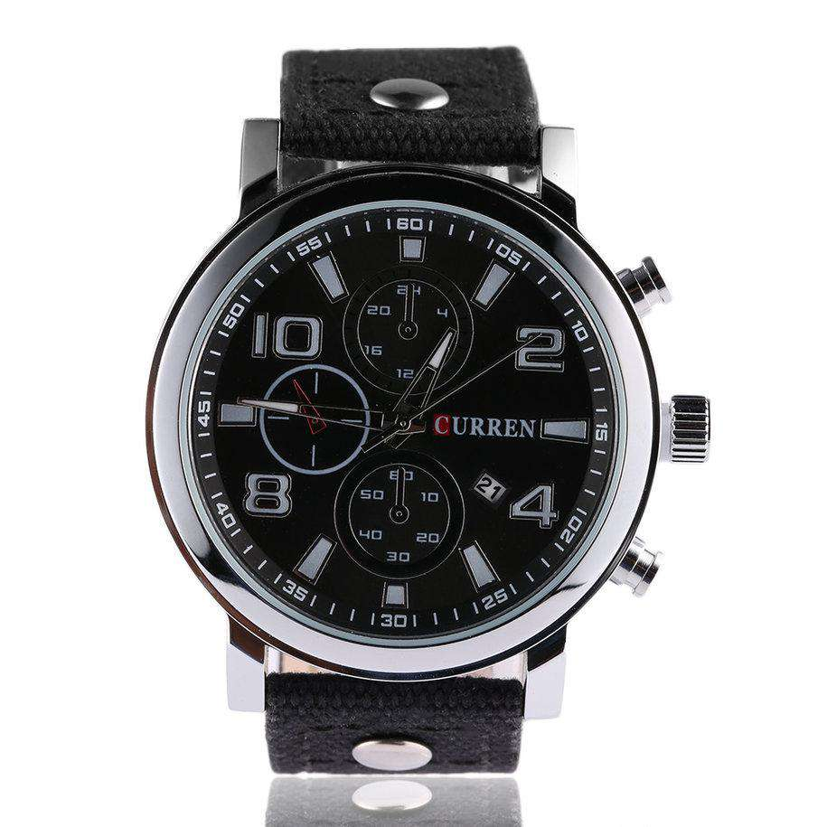 Curren 8199D-1-Black/Silver/Black Leather Strap Watch